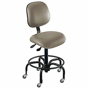 "Vinyl Ergonomic Chair with 17"" to 22"" Seat Height Range and 300 lb. Weight Capacity, Gray"