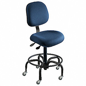 "Cloth Ergonomic Chair with 17"" to 22"" Seat Height Range and 300 lb. Weight Capacity, Navy"