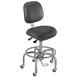 "Upholstered Vinyl Ergonomic Chair with 27"" to 32"" Seat Height Range and 300 lb. Weight Capacity, Bla"