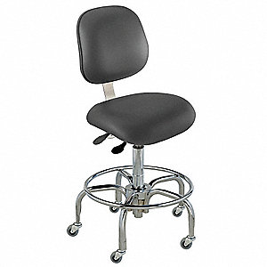 "Upholstered Vinyl Ergonomic Chair with 17"" to 22"" Seat Height Range and 300 lb. Weight Capacity, Bla"