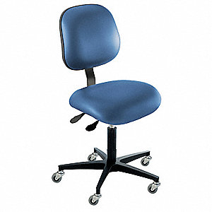 "Vinyl Ergonomic Chair with 17 to 22"" Seat Height Range and 350 lb. Weight Capacity, Royal"