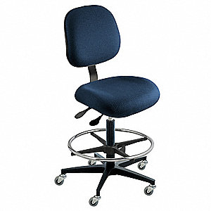 "Cloth Ergonomic Chair with 19"" to 26"" Seat Height Range and 300 lb. Weight Capacity, Navy"