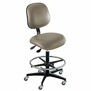 "Vinyl Ergonomic Chair with 22"" to 32"" Seat Height Range and 300 lb. Weight Capacity, Gray"