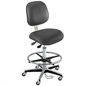 "Upholstered Vinyl Ergonomic Chair with 22"" to 32"" Seat Height Range and 300 lb. Weight Capacity, Bla"