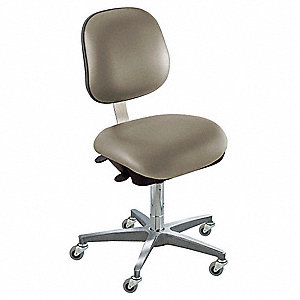 "Upholstered Vinyl Ergonomic Chair with 17"" to 22"" Seat Height Range and 300 lb. Weight Capacity, Gra"