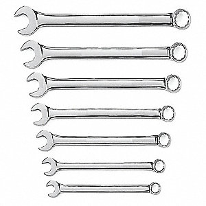 "7-Piece Standard Combination Wrench Set, Metric, Range of Lengths: 6-1/4 to 8-1/4"", Points: 12"