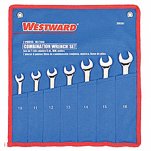 Combination Wrench Set, Metric, Number of Pieces: 7, Number of Points: 6