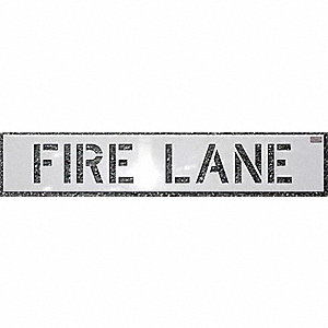 "Stencil, Fire Lane, 18"", Polyethylene, 1 EA"