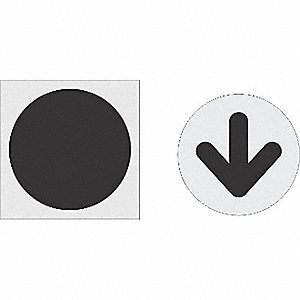 "Stencil, Circle Arrow, 29-1/2"" Arrow, 42"" Circle, Polyethylene, 1 EA"
