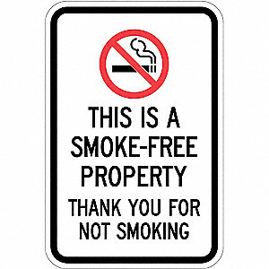 "No Smoking, No Header, Recycled Aluminum, 18"" x 12"", With Mounting Holes, Top/Bottom Centered"