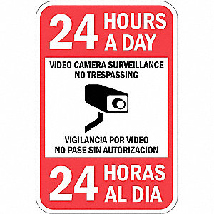 Property Sign,Video Cam,18 In 12 In
