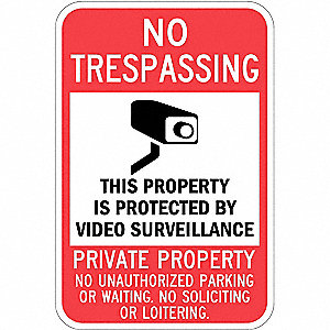 "Trespassing and Property, No Header, Aluminum, 18"" x 12"", Post Mounting, Engineer"
