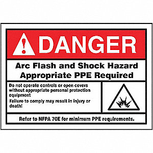 Label,3-1/2x5,Danger Arc Flash and Shock