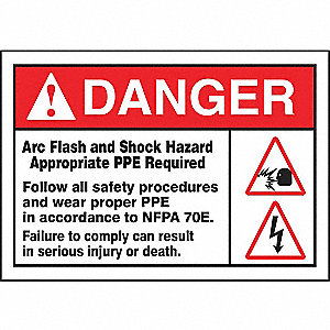 Label, 7x10, Danger Arc Flash and Shock