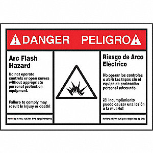 Label,3-1/2x5,Danger Arc Flash Hazard