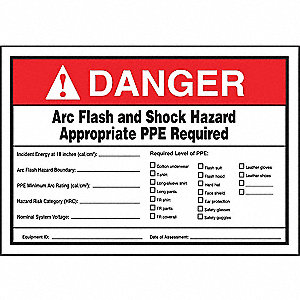 Label,5x7,Danger Arc Flash and Shock