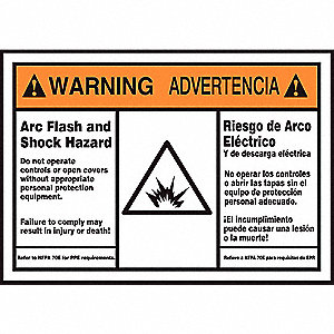 Label, 3-1/2x5, Warning Arc Flash Hazard