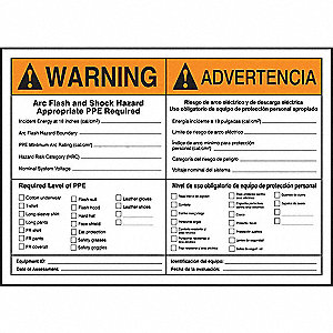 Label, 5x7, Warning Arc Flash and
