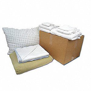 Twin Bedding and Bath Kit, White/Beige; PK1