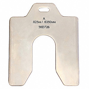 Stainless Steel Slotted Shim with Tab, 0.025 in Thickness, Trade Size: A