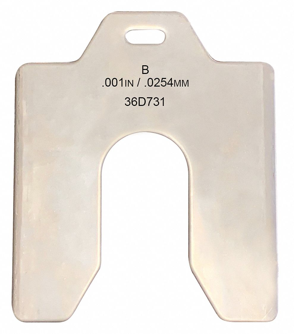 Stainless Steel Slotted Shim with Tab, 0.001 in Thickness, Trade Size: B