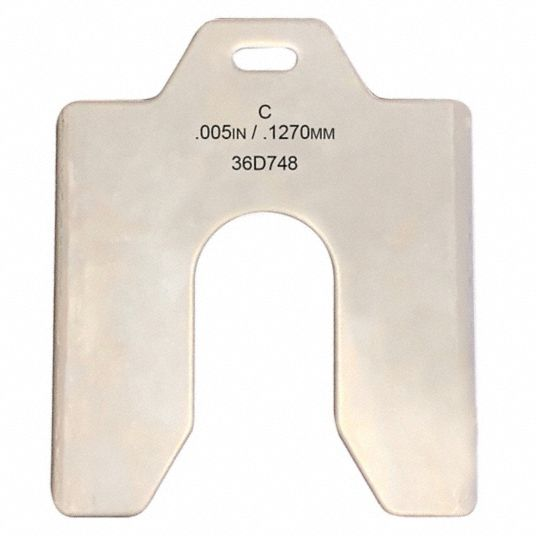 Stainless Steel Slotted Shim with Tab, 0.005 in Thickness, Trade Size: C