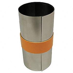 "Stainless Steel Shim Stock Roll, 316 Grade, 0.0030"" Thickness, ±0.0002"" Thickness Tolerance"