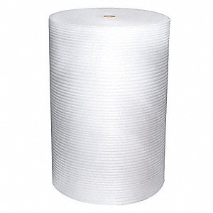 "Plastic Foam Roll, 48""W x 250 ft., White, Perforated: Yes, Perforation Increments: 12"""