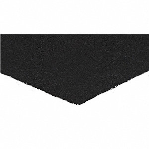 "Indoor Entrance Mat, 6 ft. L, 3 ft. W, 5/16"" Thick, Rectangle, Black"