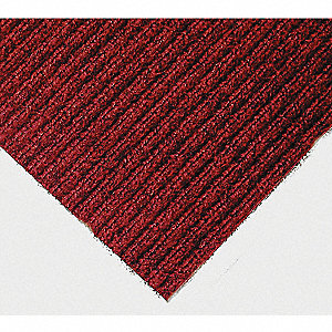 "Indoor Entrance Mat, 6 ft. L, 4 ft. W, 3/8"" Thick, Rectangle, Red/Black"