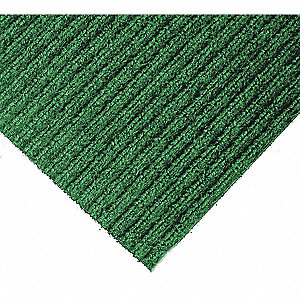 "Indoor Entrance Mat, 10 ft. L, 3 ft. W, 3/8"" Thick, Rectangle, Green"