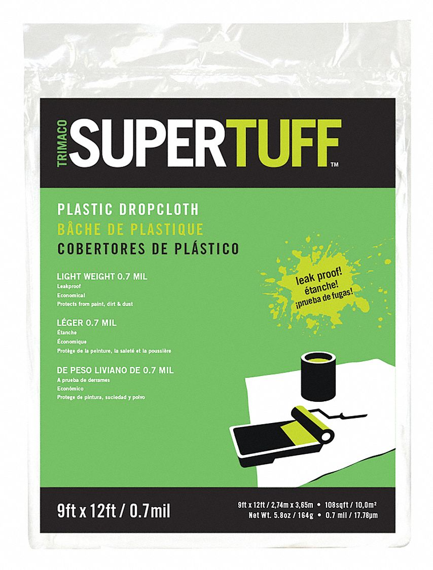 Drop Cloth,  Low Density Polyethylene,  0.7 mil Thickness,  12 ft Width,  9 ft Length,  Translucent