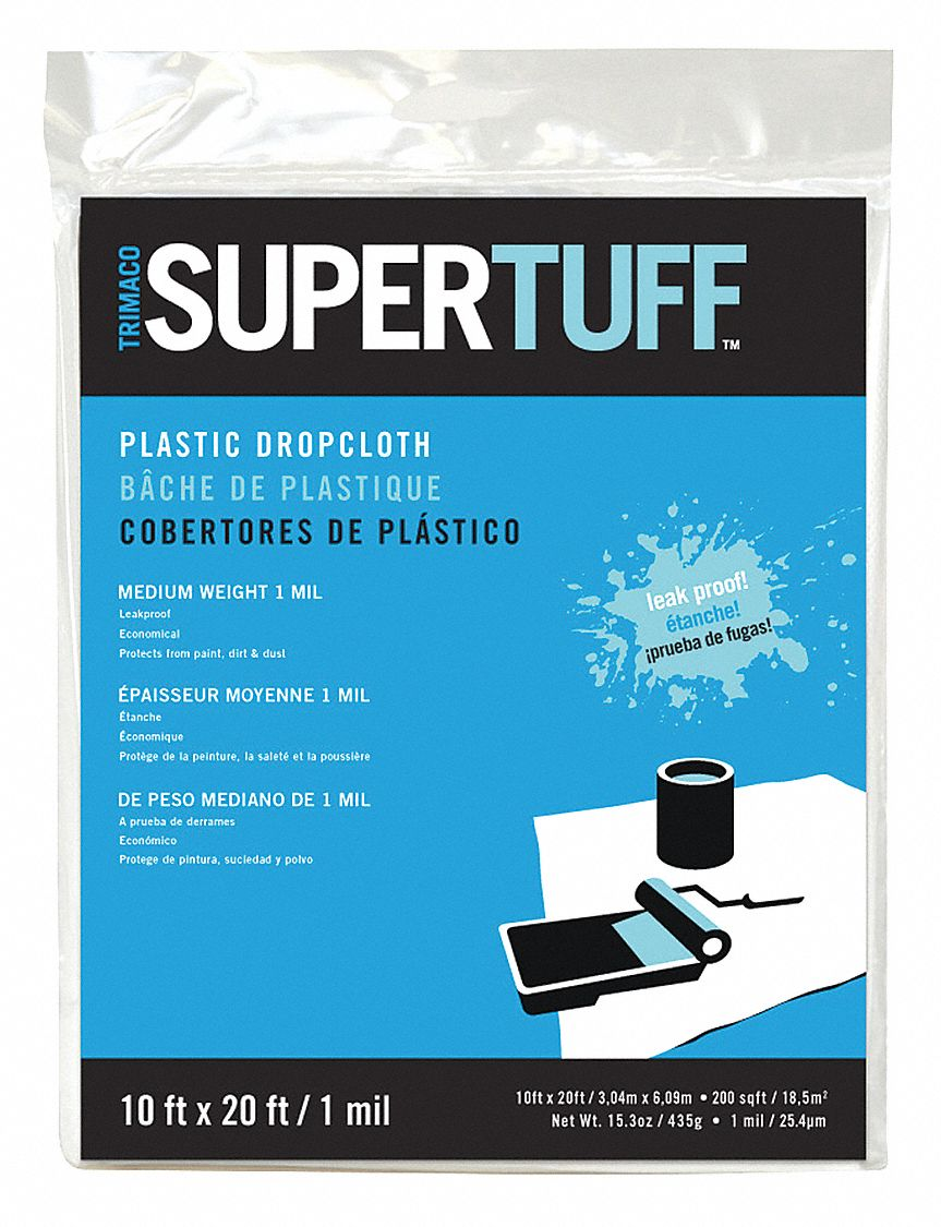 Drop Cloth,  Low Density Polyethylene,  1 mil Thickness,  20 ft Width,  10 ft Length,  Clear