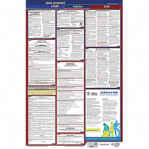 LaborLaw Poster,Fed/STA,OH,ENG,26inH,5yr