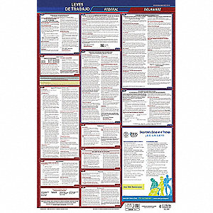Labor Law Poster, DE Federal and State Labor Law, Spanish, None