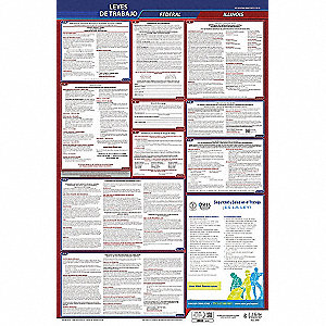 Labor Law Poster,Fed/STA,IL,SP,26inH,5yr