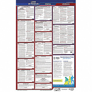 Labor Law Poster, LA Federal and State Labor Law, Spanish, 5 yr.