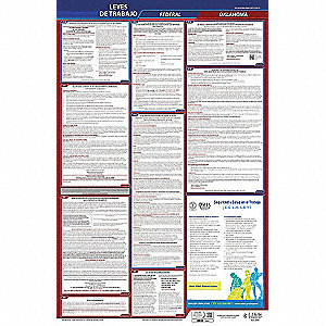 Labor Law Poster,Fed/STA,OK,SP,26inH,5yr