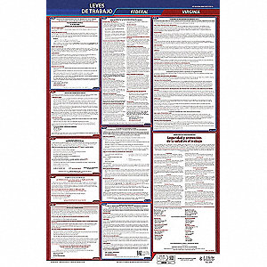 Labor Law Poster,Fed/STA,VA,SP,26inH,1yr