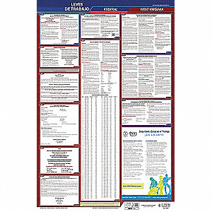 Labor Law Poster, WV Federal and State Labor Law, Spanish, 5 yr.