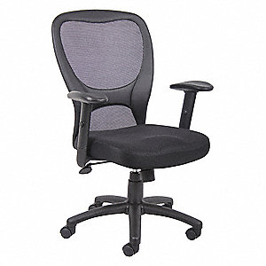 "Desk Chair,Mesh,Black,18"" to 21"" Seat Ht"