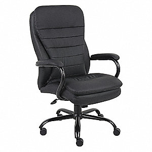 "Black Vinyl Desk Chair 29"" Back Height, Arm Style: Fixed"