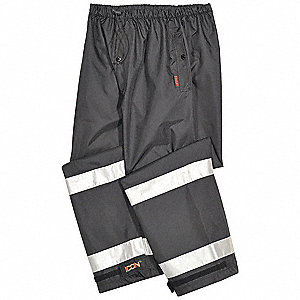Rain Pants,Polyester,Black/Silver,XL