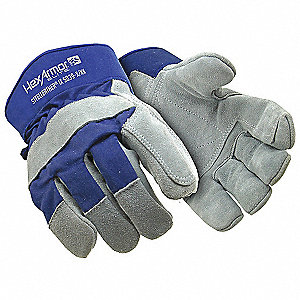 Leather Glove, ANSI/ISEA Cut Level 5 Lining, Gray, XL, EA 1