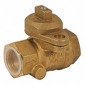 "Brass FNPT x FNPT Gas Ball Valve, Locking Wing, 3/4"" Pipe Size"