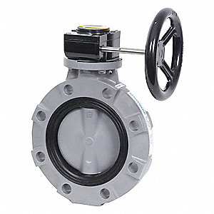 "Wafer-Style Butterfly Valve, Polypropylene, 150 psi, 8"" Pipe Size"
