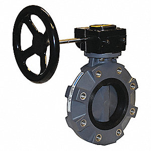 Butterfly Valve,PVC,FPM,6in,Gear,Lug