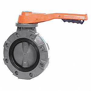 "Wafer-Style Butterfly Valve, Polypropylene, 150 psi, 4"" Pipe Size"