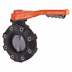 Butterfly Valve,GFPP,Ntrle,8in,Lever,Lug