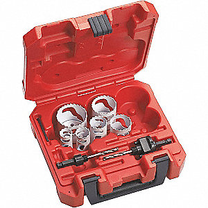 "8-Piece Refrigeration Hole Saw Kit for Metal, Range of Saw Sizes: 5/8"" to 2-1/8"""